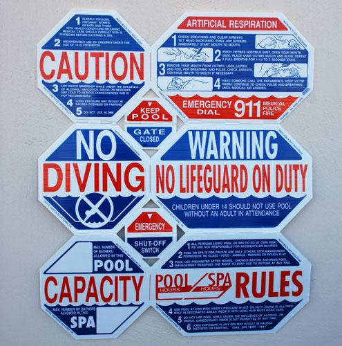 UNIVERSAL SAFETY SIGNS - MULTI WARNING - SWIMMING POOL SIGNS